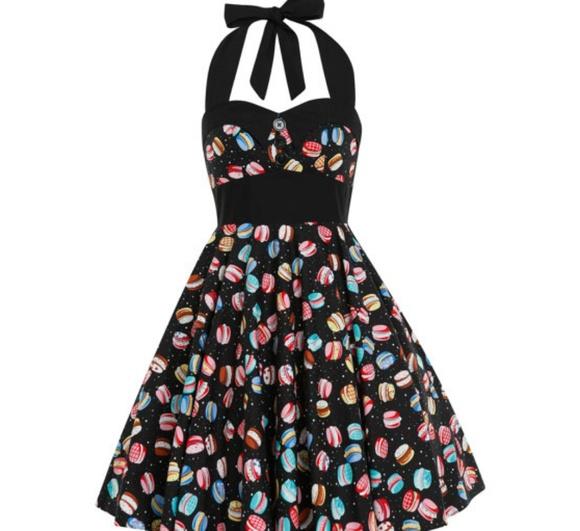 Pin up 50\'s style macaron plus size dress